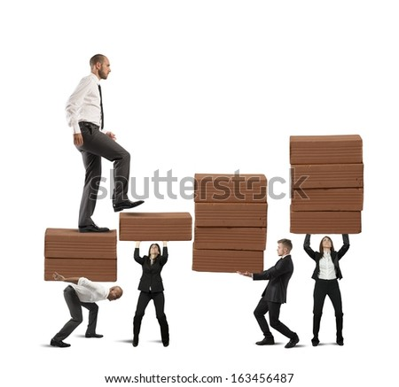 Concept of statistical success of a teamwork - stock photo
