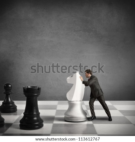 Concept of Strategy of a businessman - stock photo