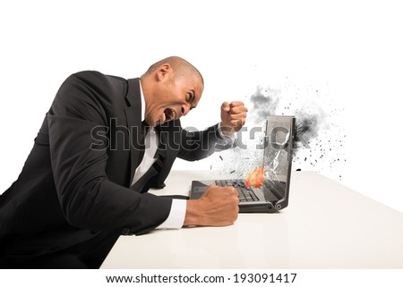 Concept of stress and frustration caused by a computer - stock photo