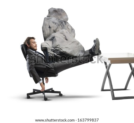 Concept of stress at work with businessman crashed - stock photo