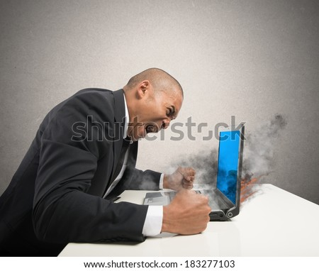 Concept of stress with blue screen computer error - stock photo