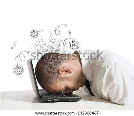 Concept of stress with businessman sleeping on a laptop - stock photo