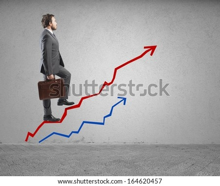 Concept of Success and determination in business - stock photo