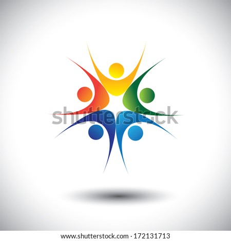 concept of team celebrating success and jumping in joy. The graphic illustration also represents excited people, people dancing, school children or kids playing, colorful employees in circle - stock photo