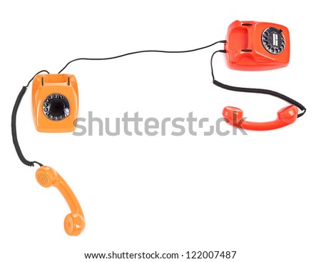 concept of telephone connection over white background - stock photo