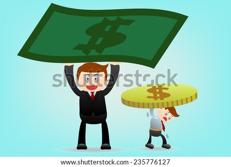 concept of the difference between boss and worker - stock photo