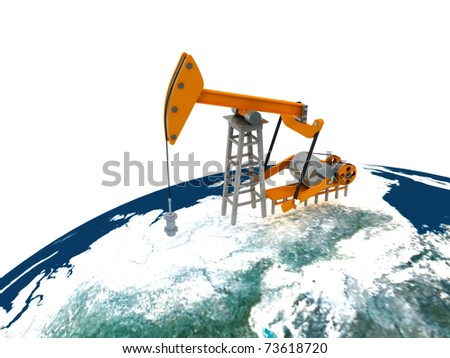 Concept of the oil rig on a white background - stock photo
