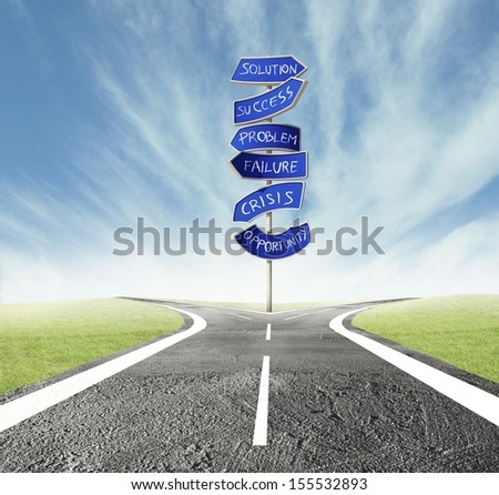 Concept of the right decision of a crossroads - stock photo