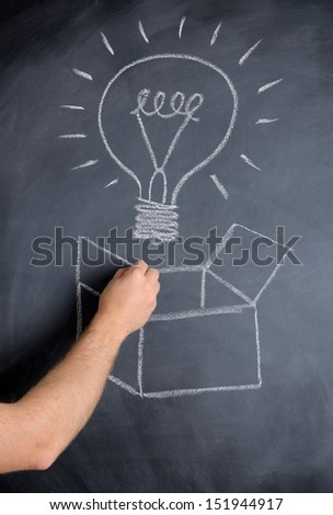concept of thinking outside the box with an idea bulb on a chalkboard - stock photo