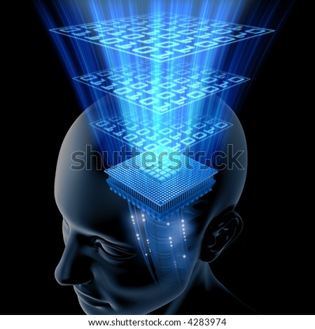 Concept of thinking. Your brain is a big chip (processor) with high potency data processing. - stock photo