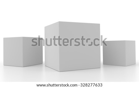 Concept of three 3d light white boxes isolated on white background. Rendered illustration. - stock photo