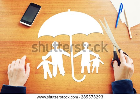 Concept of traditional family in full safety - stock photo
