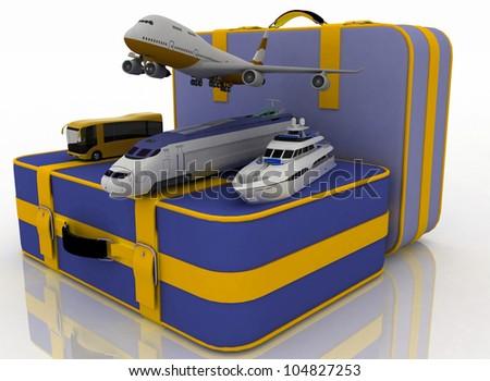 concept of transport for trips. 3d render illustration - stock photo