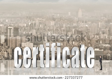 Concept of trust, belief, credit etc with 3d text under sky in the modern city and one Asian business man looking it. - stock photo