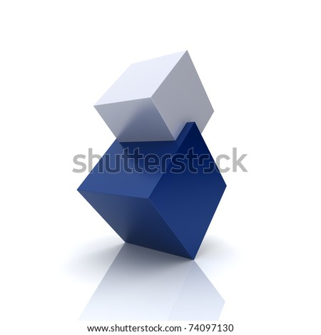 Concept of union with blue and silver cubes - stock photo