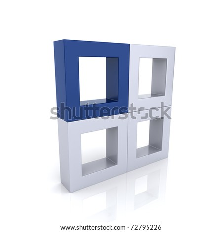 Concept of unique element with frames (blue collection) - stock photo