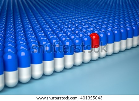 Concept of uniqueness. Red capsule in row of blue capsules. 3d render - stock photo
