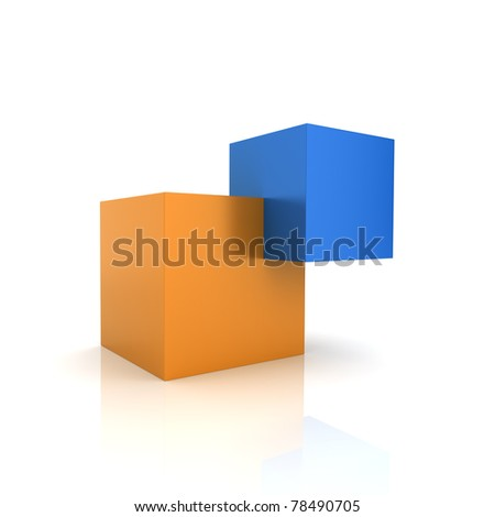 Concept of unity with two cubes (color collection) - stock photo