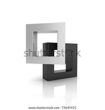 Concept of unity with two frames (black collection) - stock photo