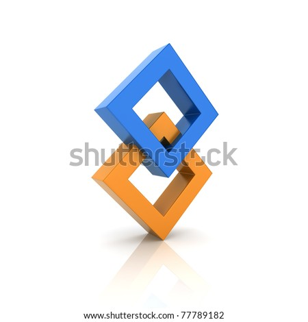 Concept of unity with two rhombs (color collection) - stock photo
