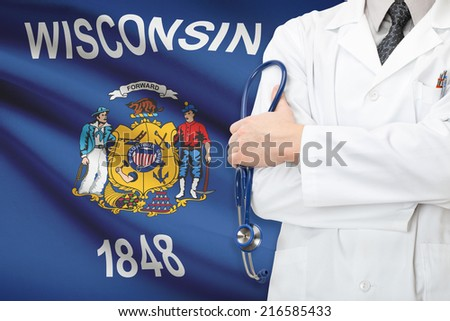 Concept of US national healthcare system - state of Wisconsin - stock photo
