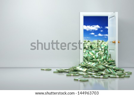 Concept of wealth. Opening euro and heap dollar. 3d - stock photo