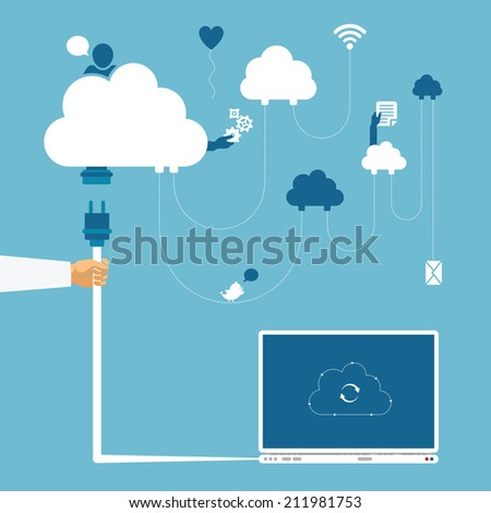 Concept of wireless cloud network and distributed computing - stock photo