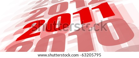 Concept of 2011 year beginning in red on white - stock photo