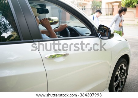 Concept on drinking and driver cause an accident  with child up front on the road - stock photo