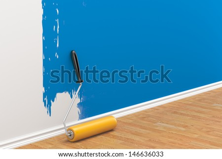 concept on repair: roller brush painting the white wall - stock photo