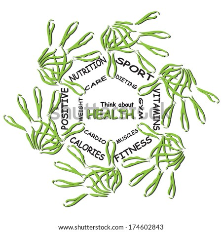 Concept or conceptual abstract circle health word cloud, green leaf child hand prints isolated white background, metaphor to medical, diet, sport, shape, silhouette, food, lifestyle or medicine - stock photo