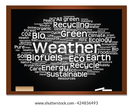 Concept or conceptual abstract green ecology, conservation word cloud text, blackboard background, metaphor to environment, recycle, earth, alternative, protection, energy, eco friendly or bio - stock photo