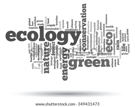 Concept or conceptual abstract green ecology, conservation word cloud text, white background, metaphor to environment, recycle, earth, alternative, protection, energy, eco friendly or bio - stock photo