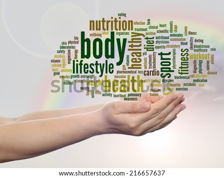 Concept or conceptual abstract word cloud man hand, rainbow sky background, metaphor to health, nutrition, diet, wellness, body, energy, medical, fitness, medical, gym, medicine, sport, heart, science - stock photo