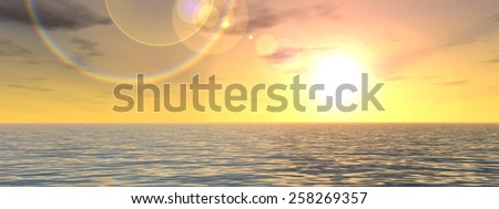 Concept or conceptual beautiful seascape with water and waves and a sky with clouds at sunset banner as a metaphor for nature, romantic, dramatic, light, evening, morning, peace, atmosphere or weather - stock photo