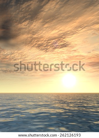 Concept or conceptual beautiful seascape with water and waves and a sky with clouds at sunset as a metaphor for nature, romantic, dramatic, light, evening, peace, atmosphere or weather - stock photo