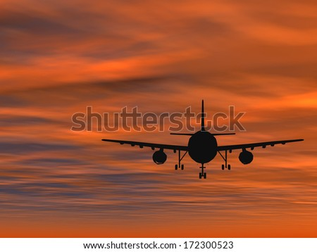 Concept or conceptual black plane, airplane or aircraft silhouette flying over sky at sunset or sunrise background,metaphor to air,travel, transportation,jet,flight,transport,business,vacation,tourism - stock photo