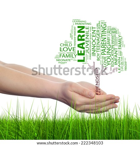 Concept or conceptual black text word cloud tagcloud as tree on man or woman hand isolated on white background and grass, metaphor to child, family, education, home, love and school learn achievement - stock photo