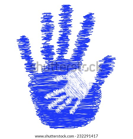 Concept or conceptual blue cute drawing paint hands of mother and child isolated on white for art, care, childhood, family, fun, happy, infant, symbol, kid, little, love, mom, motherhood or young - stock photo
