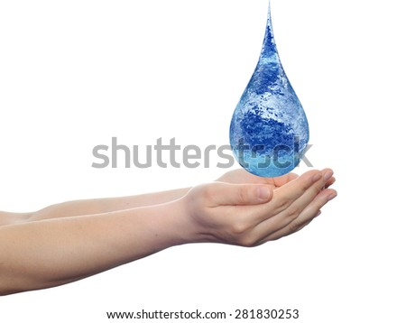 Concept or conceptual blue water or liquid drop falling in two woman hands isolated on white background, for splashing, palm, clear, purity, freshness, nature, clean, health, rain, environment, drinks - stock photo