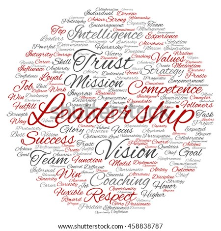 Concept or conceptual business leadership or management circle word cloud isolated on background - stock photo