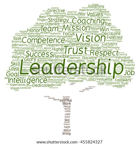 Concept or conceptual business leadership or management tree word cloud isolated on background metaphor to strategy, success, achievement, responsibility, authority, intelligence or competence - stock photo