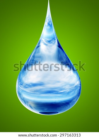 Concept or conceptual clean cold blue rain water liquid drop falling, green gradient  background metaphor to nature, wet, purity, splash, fresh, spring, summer, pure freshness drink eco or environment - stock photo