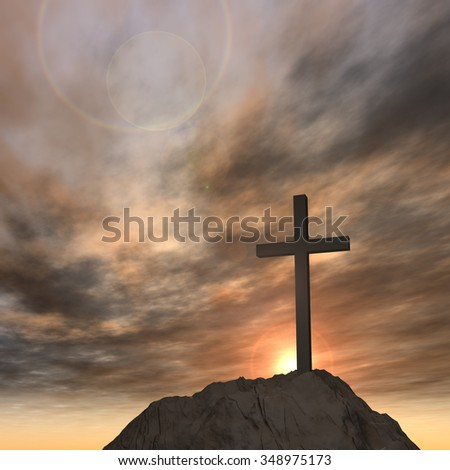 Concept or conceptual cross religion symbol shape over sunset sky with clouds background, metaphor to God, Christ, Christianity, lige, religious, faith, holy, spiritual, Jesus, belief or resurection - stock photo