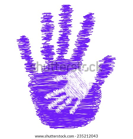 Concept or conceptual cute violet drawing paint hands of mother and child isolated on white for art, care, childhood, family, fun, happy, infant, symbol, kid, little, love, mom, motherhood or young - stock photo