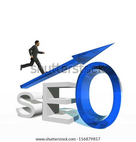 Concept or conceptual 3D blue glass SEO symbol with arrow pointing up isolated on white background with businessman as a metaphor for business,website,optimize,strategy,success,traffic or information - stock photo