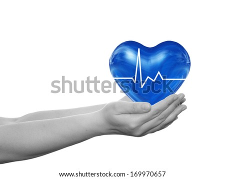 Concept or conceptual 3D blue human heart sign or symbol held in human man or woman hand isolated on white background, metaphor to health,care,medicine,protect,life,medical,pulse,healthcare cardiology - stock photo