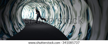 Concept or conceptual 3D business man, dark road tunnel with bright light at the end background, metaphor to hope, freedom, exit, life, faith, speed, dream, success, vision, future, fear or salvation - stock photo