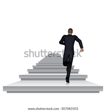 Concept or conceptual 3D business man running or climbing white stair isolated on white background, metaphor to success, career, work, job, achievement, development, growth, progress, vision or future - stock photo