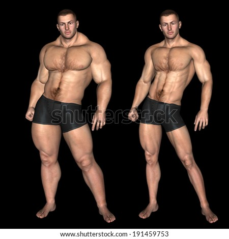 Concept or conceptual 3D fat overweight vs slim fit with muscles young man on diet isolated on black background, metaphor weight loss, body, fitness, obesity, health, healthy, male, dieting or shape - stock photo